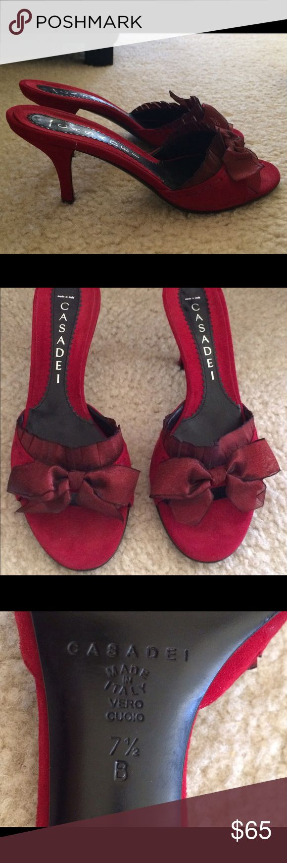 Casadei Beautiful Red Suede Shoes with bow detail Casadei red suede shoes. Very gently used only once or twice. In perfect condition. 7.5 B  Originally bought at Nieman Marcus. Casadei Shoes