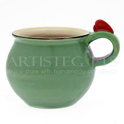 Κούπα Κεραμική Πράσινη Με Κόκκινη Καρδιά. Αποκτήστε το online πατώντας στον παρακάτω σύνδεσμο http://www.artistegifts.com/koupa-keramiki-prasini-kokkini-kardia.html