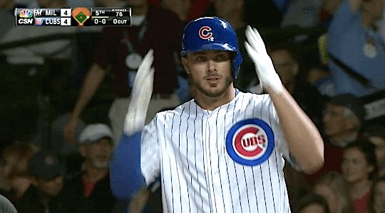"""gfbaseball: """" """"Kris Bryant leads off the 5th inning with a single - September 21, 2015 """" """" Usually I just reblog these because whatever good looking baseball players + horrified, disgusted tags, but I really like this gifset. All season the Cubs have..."""