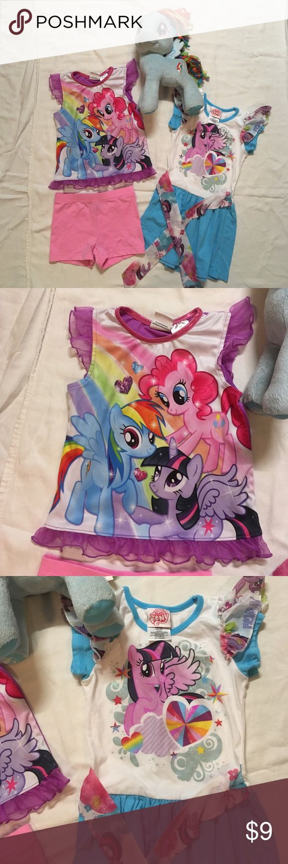 My Little Pony Summer Dress and Pajamas Bundle All items are in gently worn condition with no stains, tears, or other noted flaws unless otherwise stated. From a smoke-free home. All offers considered. The pink shorts are Basic Edition and not the original shorts that came with the pj set. I included them to make a complete set and because I forgot to add them to another lot. 😜 tags read XS 4/5. Everything pictured is included, the pony too. My Little Pony Pajamas
