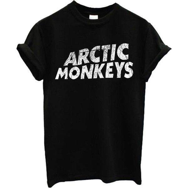 Arctic Monkeys T-shirt Rock Band New Top T-shirt ($9.99) ❤ liked on Polyvore featuring tops, t-shirts, shirts, t shirts, black top, black tee, monkey t shirt and rock tops