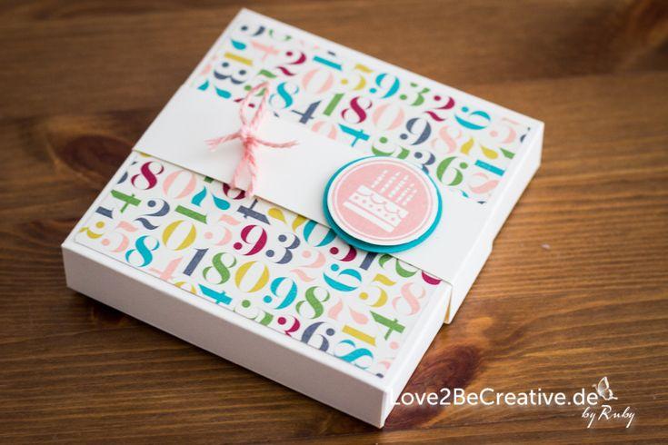 Love2BeCreative.de Stampin' Up  Exploding Box zum Geburtstag / Exploding box as a birthday gift   Amazing Birthday, Geburtstagskracher, Savanne, Bermudablau, Vanille Pur, Gutschein