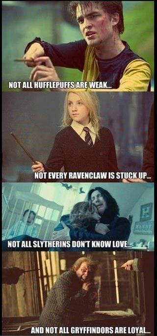 I really want to slap whomever made this. I don't know any weak hufflepuffs so what the heck? Most slytherines know love, narcissa lied to voldemorts face because of her love for her son, regulus drank that potion and sent kreacher back, prof slughorn has a love for his students, even if it is slightly selfish. And gryffindors value bravery, loyalty is a sign of the Hufflepuff house. But I do know we ravenclaw a can be a little stuffed up sometimes.<-- pinning for that amazing comment