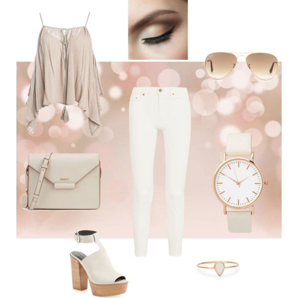 Beige set 16/03/16 by besyata on Polyvore featuring мода, Sans Souci, Acne Studios, Rebecca Minkoff, DKNY, Catbird and Ray-Ban