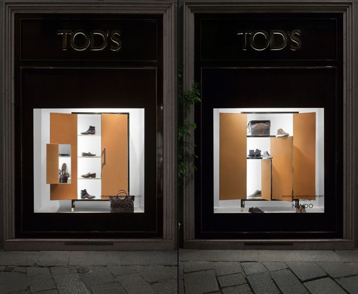 Tods window display by Nendo, Milan store design