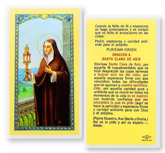 Oracion A Santa Clara De Asis by Hirten | Catholic Shopping .com