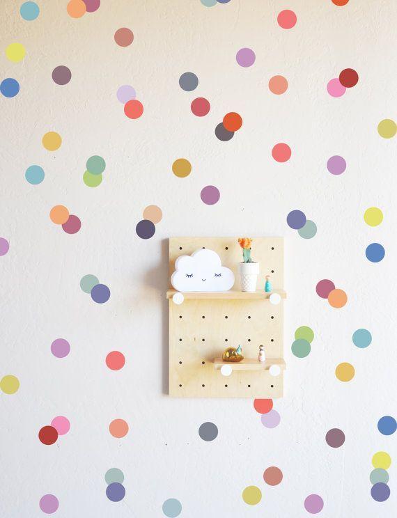 Wall Decal Muted Rainbow Confetti Dots Wall Sticker Confetti