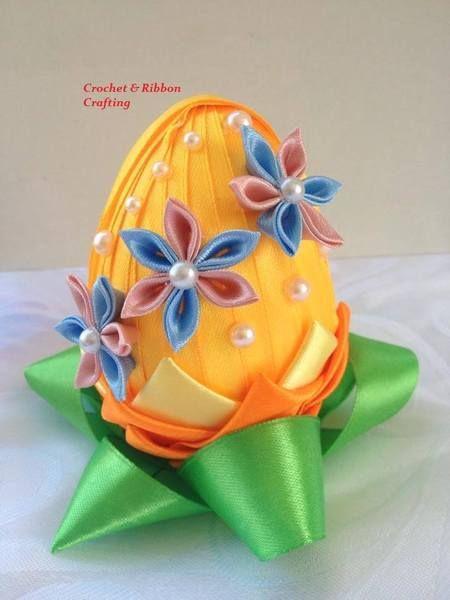 wstążkowe jaja wielkanocne w Crochet & Ribbon Crafting na DaWanda.com