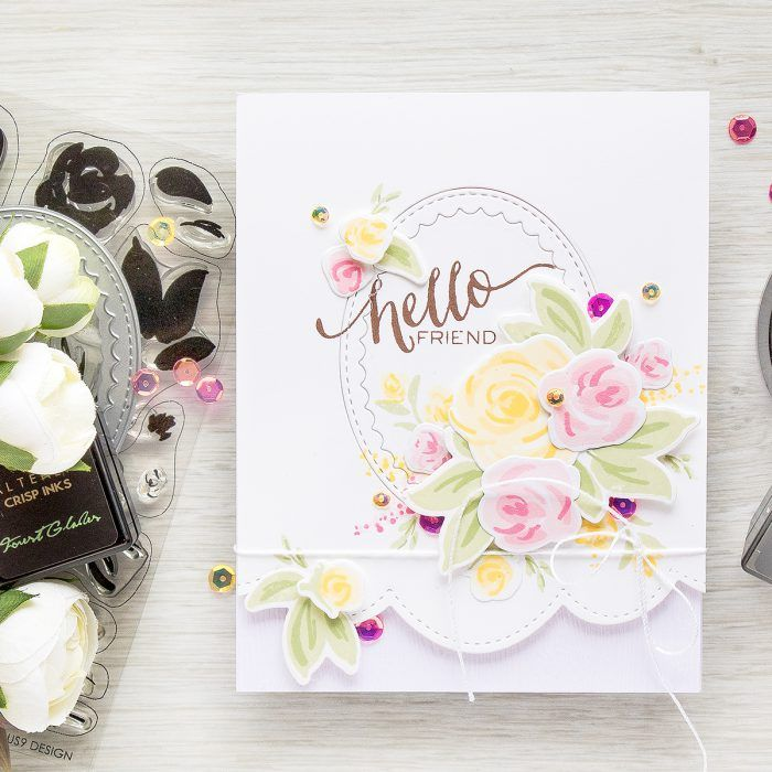 Create Simple Floral Card with Faux Hand Painted Flowers! Watch video tutorial for details - https://www.youtube.com/watch?v=CZ0tVIv8O_s