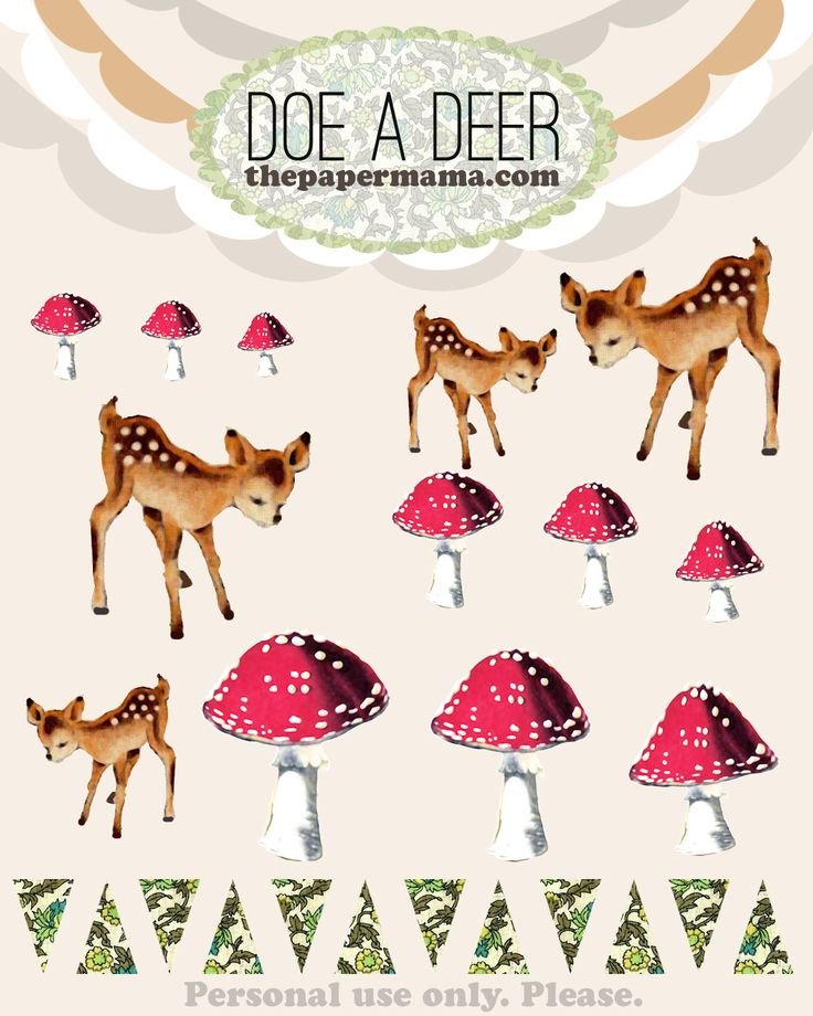 free cut outs by thepapermama.com: Paper Mushrooms Tutorials, Woodland Printable Free, Printable Free Woodland, Terrarium Tutorials, Terrarium Freebies, Paper Mama, Free Printable Deer, Diy Projects, Paper Terrarium