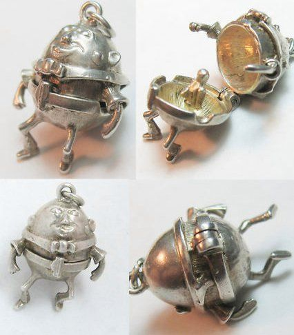 Vintage sterling silver English Humpty Dumpty charm opens to one of the King's horsemen — sold for 51 usd