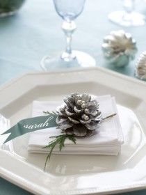 Place setting This is what I want to do minus the plates, just a green cloth napkin w a snowy pinecone