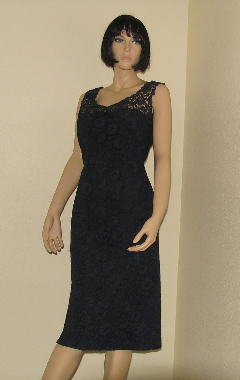 Black dress neiman marcus - Vintage 50s Terry Allen Blue Lace Cocktail Wiggle Dress Neiman Marcus