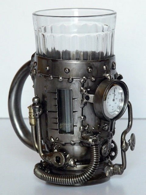 Steampunk fashion - Steam boiler (tea glass holder with thermometer) AWESOME!