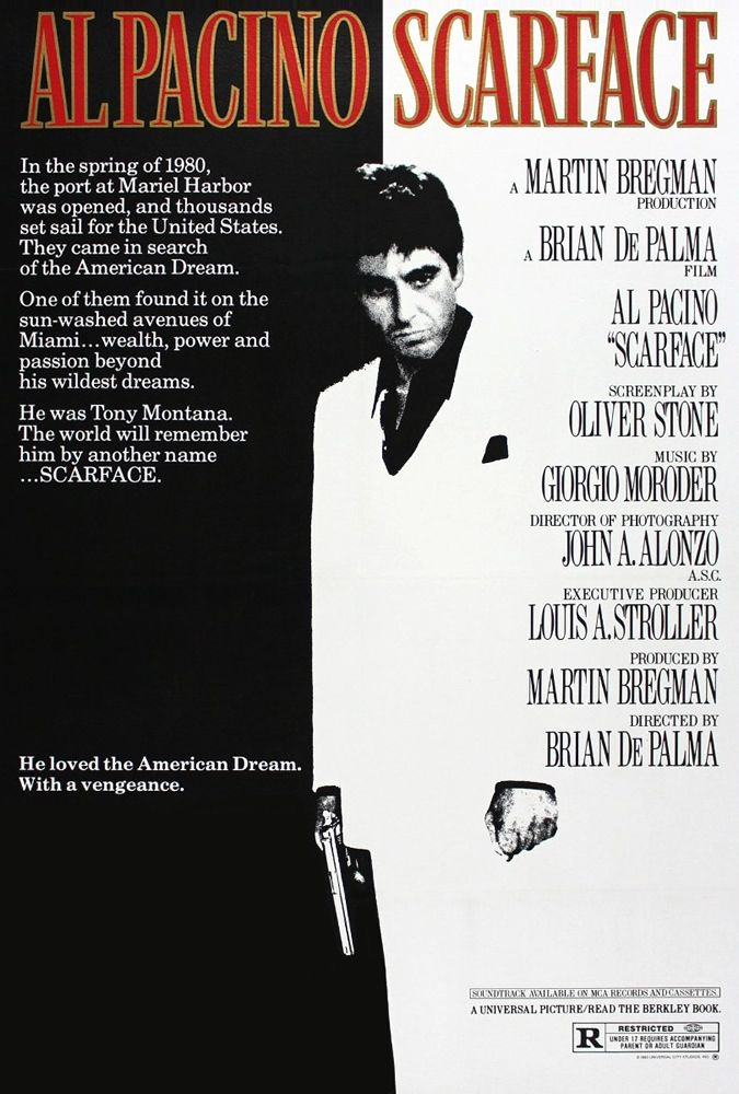 Directed by Brian De Palma.  With Al Pacino, Michelle Pfeiffer, Steven Bauer, Mary Elizabeth Mastrantonio. In Miami in 1980, a determined Cuban immigrant takes over a drug cartel and succumbs to greed.