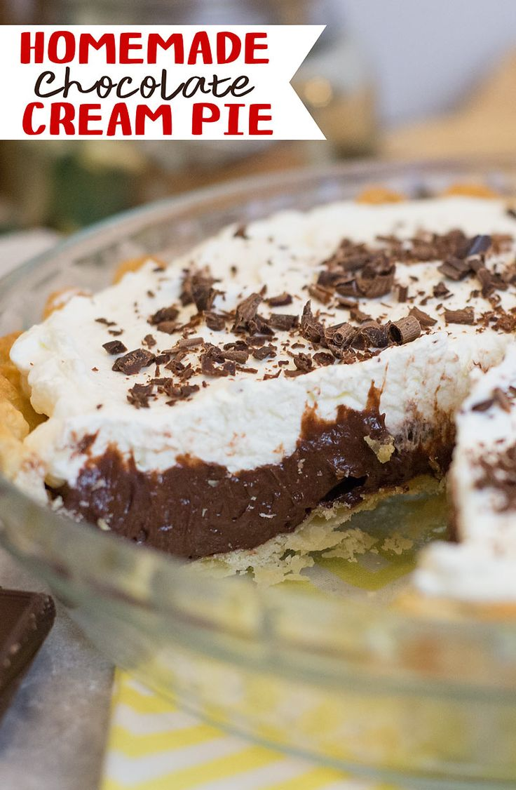 This recipe for Homemade Chocolate Cream Pie is surprisingly easy to make and I think you'll agree, this might be the best Chocolate Cream pie ever.