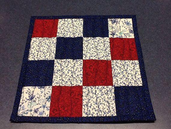 red white and blue mug rug patriotic patchwork july 4th candle mat mini quilt handmade. Black Bedroom Furniture Sets. Home Design Ideas