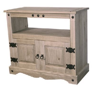 Mexican Pine TV unit - £84.99  A very attractive Mexican Pine TV unit made from solid pine. It has space for your DVD and Sky/Freeview box as well as a large cupboard to store all those items you do not wish to display. The handles and hinges are constructed to a higher than normal standard to ensure our quality throughout. It is sturdy enough to take virtually any TV on the market.  The measurements are:  Height is 74 cm, Width is 83 cm, Depth is 41 cm