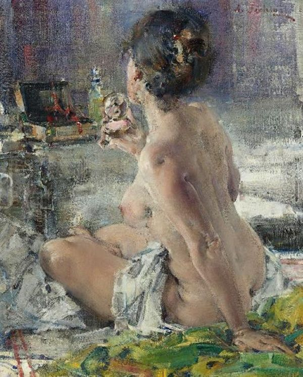 Nicolai Fechin (1881-1955) - Portrait of Mademoiselle Podbelskaya. Nicolai Fechin - Nude Woman with a Mirror (1923)