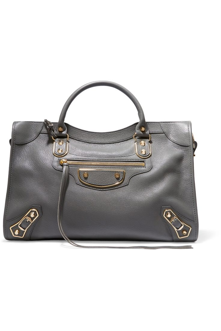 anthracite textured leather goat zip fastening along top designer color gris acier weighs approximately made in italy