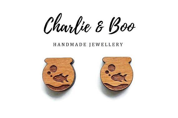 Fish Bowl Stud Earrings Raw Unfinished Wood