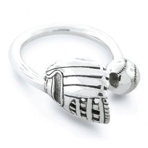 Men's sterling silver catch baseball ring