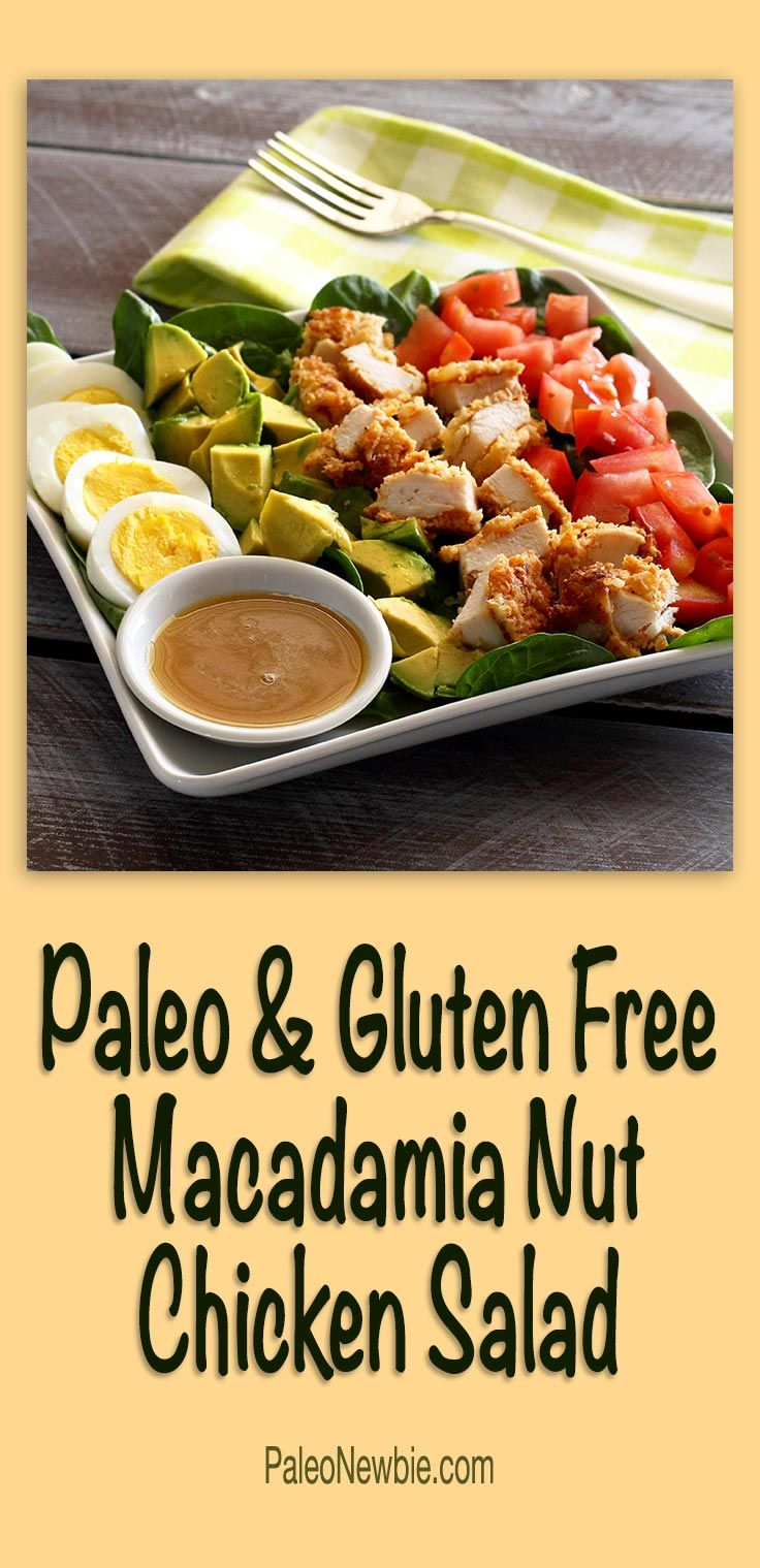A super-easy salad idea made from cubes of my paleo macadamia-crusted chicken and using the recipe's honey-mustard dip as a salad dressing. Hearty and refreshing! #paleo #glutenfree