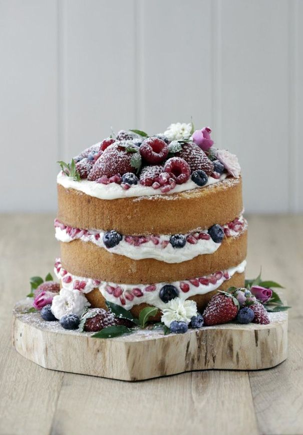 Naked Wedding Cake with berries!
