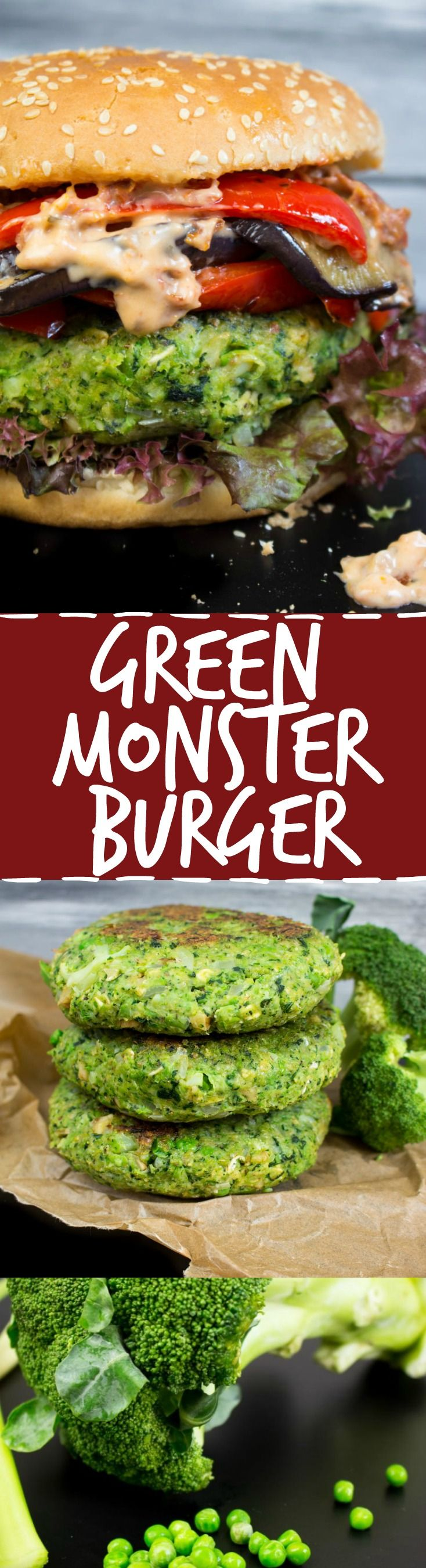 »Green monster veggie burger with grilled eggplant, red bell pepper, and sun-dried tomato mayo. The green patty is made of kale, peas, broccoli, and celery