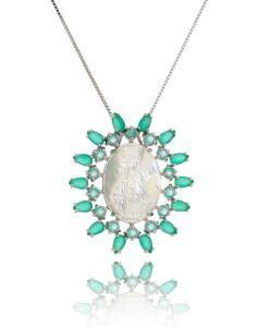 colar nossa senhora com madreperola e zirconias esmeraldas semi joias religiosas online