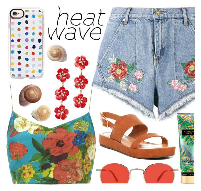 """""""Heat Wave Babe"""" by jaeim ❤ liked on Polyvore featuring House of Holland, Victoria's Secret, Boutique, BC Footwear, Garrett Leight, Jennifer Behr, Casetify and heatwave"""
