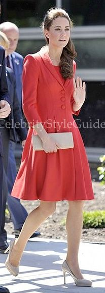 Seen on Celebrity Style Guide: Kate Middleton chose a deep red Catherine Walker coatdress in Calgary and departure from the airport July 8, 2011