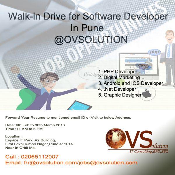 Walk In For Software Developer