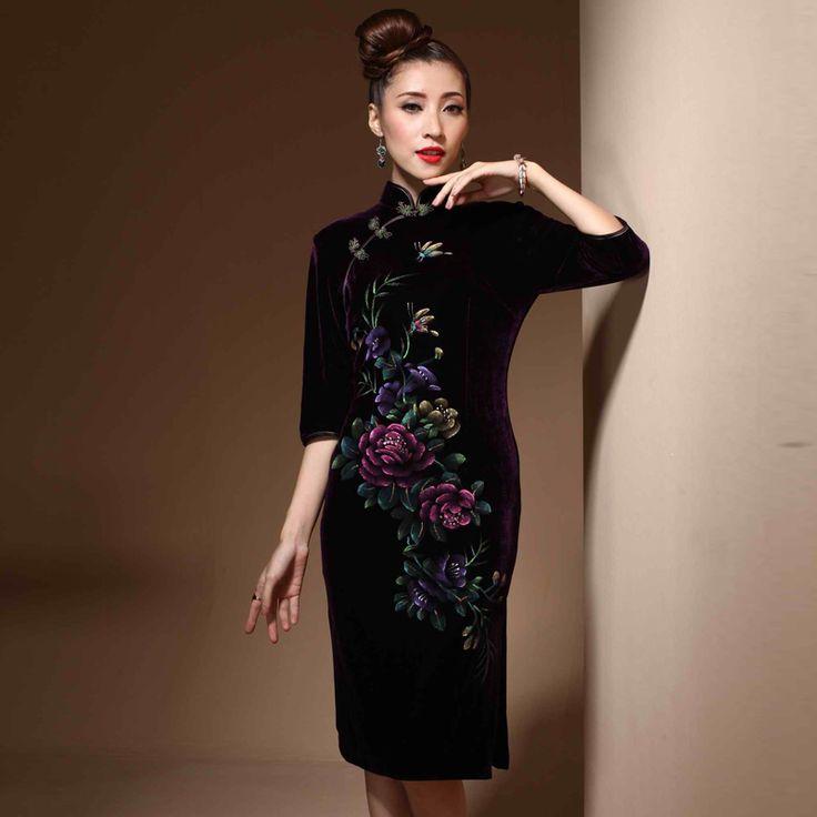 Beautiful Butterfly Cheongsam Qipao Dress - Purple - Qipao - Cheongsam - Women