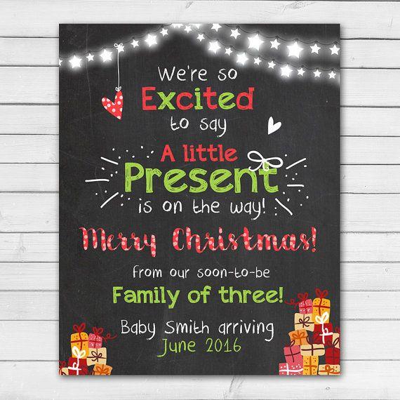 Christmas pregnancy announcement Chalkboard pregnancy Little present christmas…
