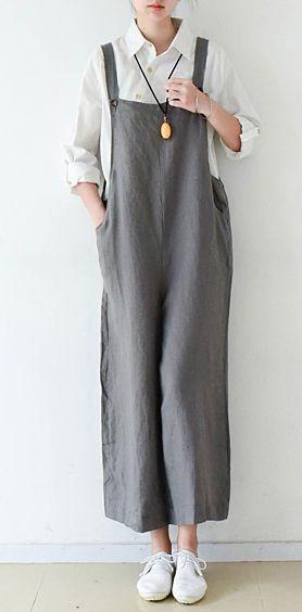 Gray cozy cotton jumpsuit pants plus szie linen pants wide leg