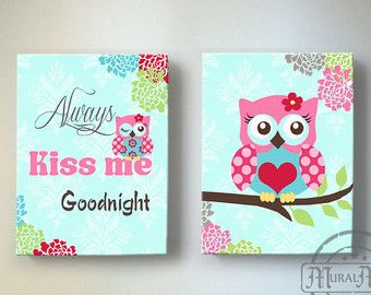 Owl Canvas Wall Art Baby Girl Owl Nursery Owl Nursery by MuralMAX