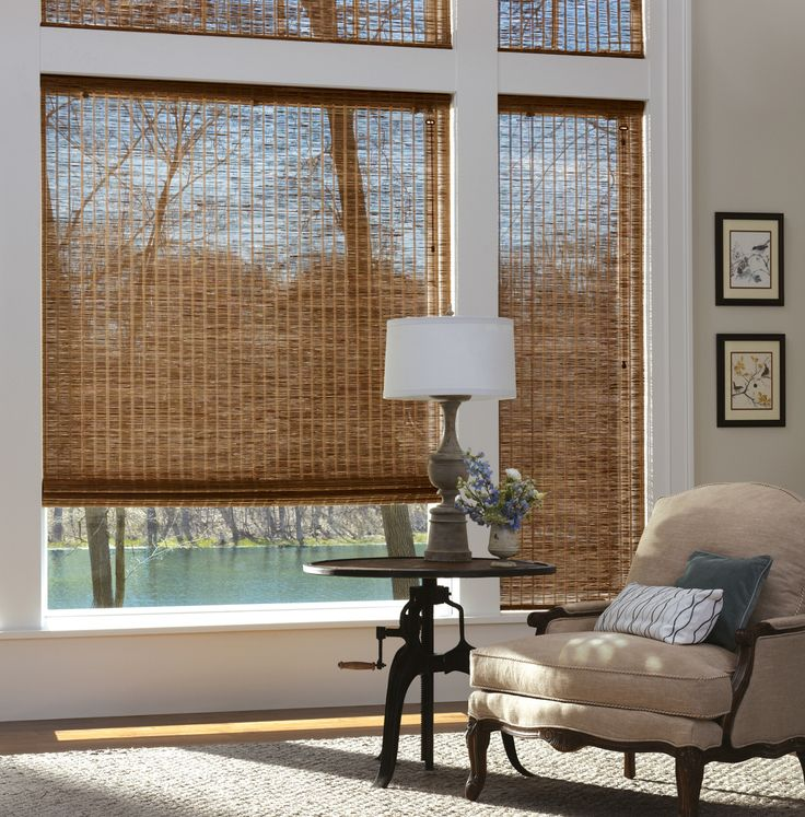 The Hunter Douglas Provenance Woven Woods Shades bring the outdoors in with their natural woods and grasses.These also are available in a vertical drape style for sliders!