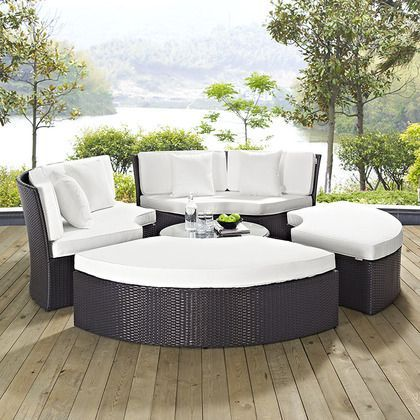 Modway Convene Circular Outdoor Patio Daybed Set in Espresso White