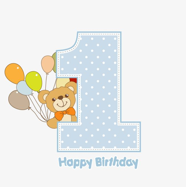 Vector Is One Year Old Baby Birthday Bear Png Transparent