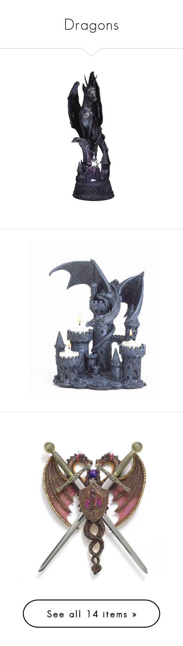 Dragons By Starrswhitedragon Liked On Polyvore Featuring Home Decor Crystal  Statue Dragon Figure