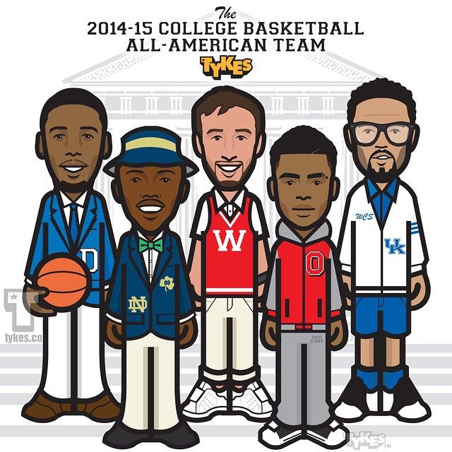 Presenting the 2015 Tykes All-American Team. Jahlil Okafor (Duke), Jerian Grant (Notre Dame), Frank Kaminsky (Wisconsin), D'Angelo Russell (Ohio State), and Willie Cauley-Stein (Kentucky). #JahlilOkafor #JerianGrant #FrankKaminsky #DAngeloRussell #WillieCauleyStein #basketball #CollegeBasketball #tyke #tykes #MyTyke www.tykes.co