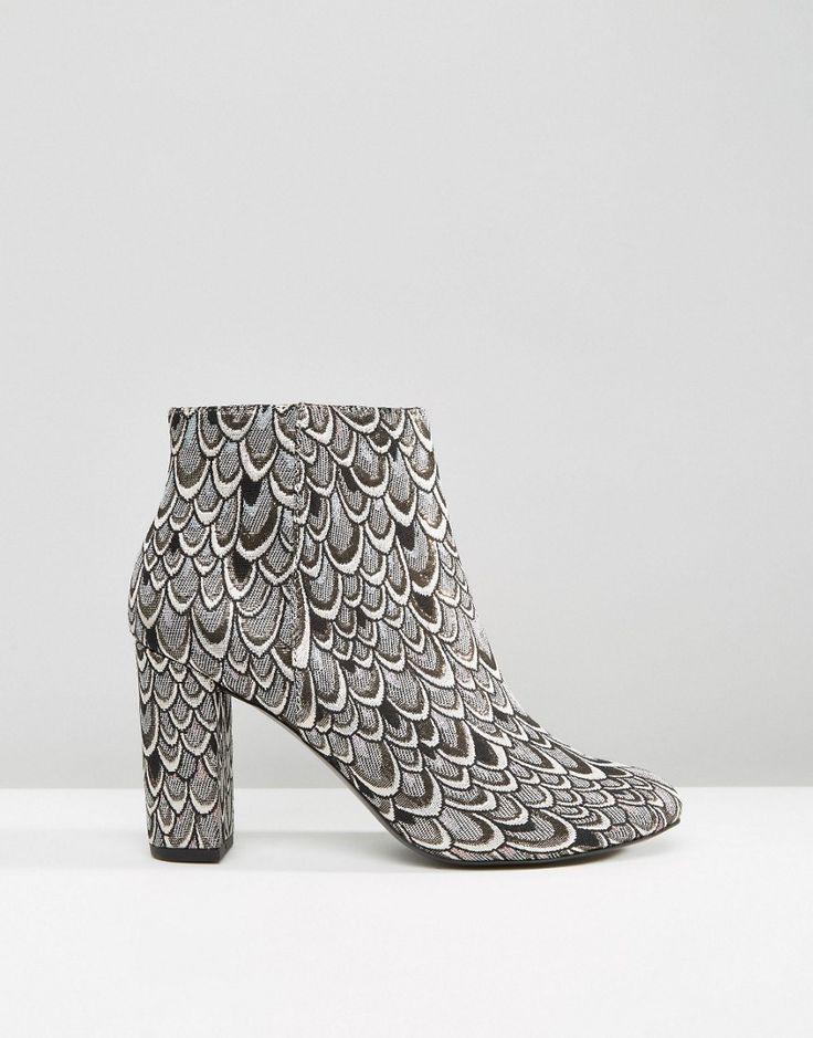 Image 2 -Miss Selfridge Jacquard Heeled Ankle Boot