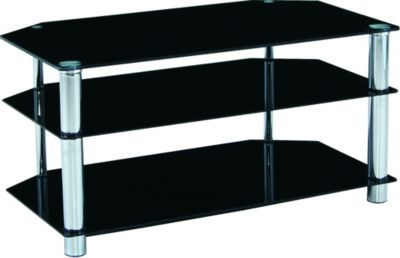 TV Rack MANHATTAN, Metall verchromt + Glas schwarz Jetzt bestellen unter: https://moebel.ladendirekt.de/wohnzimmer/tv-hifi-moebel/tv-racks/?uid=4bf28866-c12f-5ca9-8953-833175d3dded&utm_source=pinterest&utm_medium=pin&utm_campaign=boards #tvracks #wohnzimmer #medienelektronik #tvhifimoebel