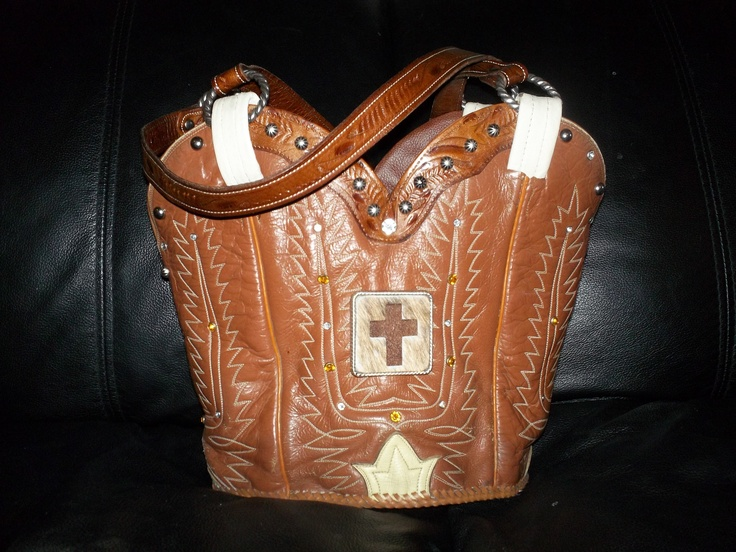 Upcycled old boots.  Love making custom purses from old boots.  Especially boots with a story!