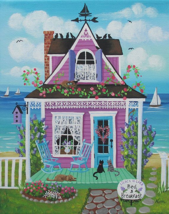 Lilacs and Lace Bed and Breakfast Folk Art Print di KimsCottageArt