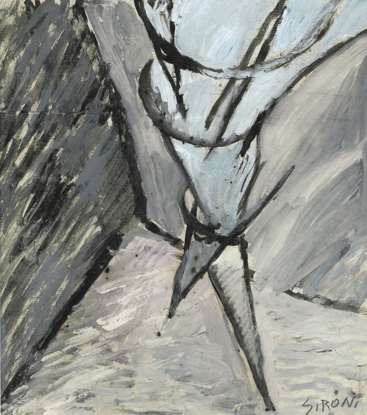 Mario Sironi (Italian, 1885-1961), Ballerina, 1914-15. Tempera and pencil on paper, 30 x 27.2 cm.