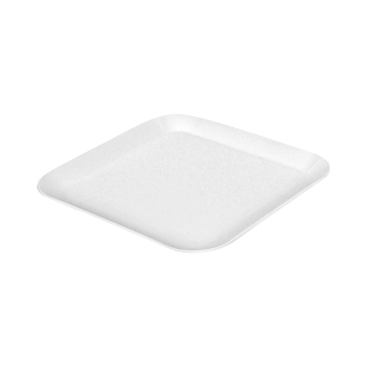 The Room Essentials™ Melamine Square Dinner Plate is minimalism meets vintage style. This modern dinner plate has a stylish yet playful feel. The white color is crisp, and the edge flips up in a friendly curvature that keeps meals in place. The material, melamine, was popular in mid-century design, and these plates take inspiration from the burger joints of the Mad Men era. Lightweight and durable, this is a plastic dinner plate with timeless style.