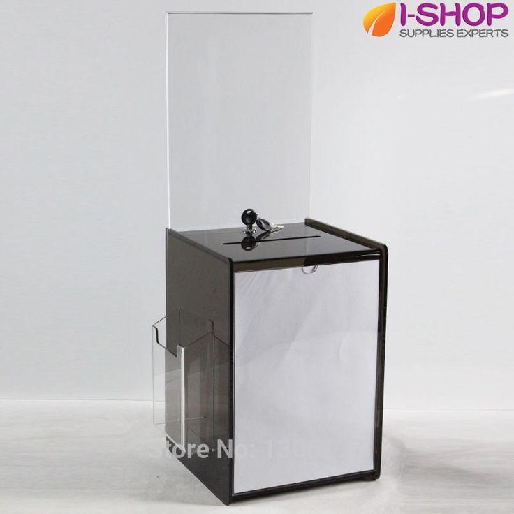 Акриловые ящик для предложений с заголовком DL + A4 комментарий ящик для пожертвований акриловые бен с буклетницей дым YX2-11