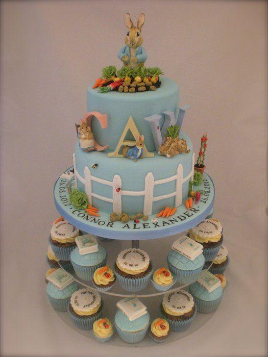 Little Cakes Peter Rabbit cake with matching cupcakes - by LittleCakesUK @ CakesDecor.com - cake decorating website